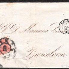 Sellos: CARTA ENTERA DE MANUEL DE LA CAMARA EN MALAGA (1864) CON SELLO NUM,. 64 Y RUEDA DE CARRETA Y FECHAD. Lote 99225595