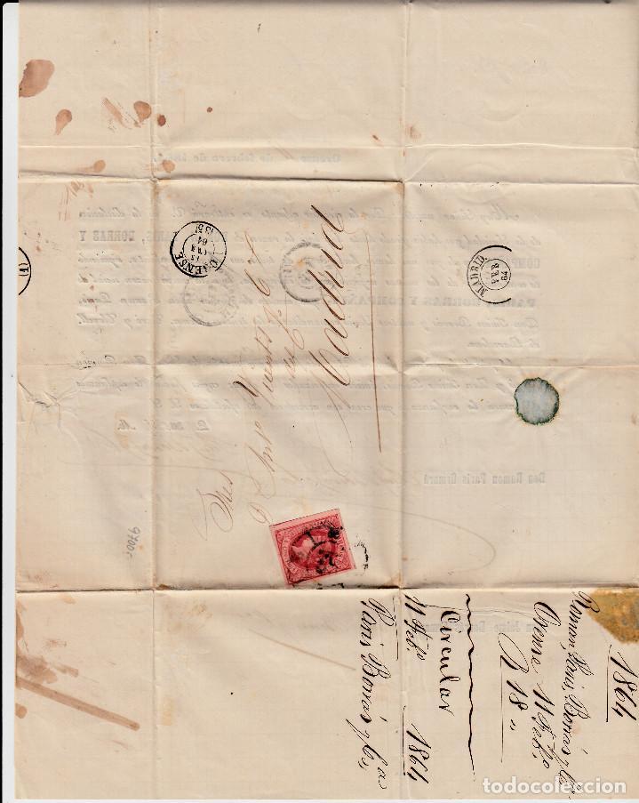 Sellos: CARTA ENTERA PARIS BORRAS Y CIA DE ORENSE (1864) -2 CIRCULARES-RUEDA DE CARRETA Y FECHADOR - Foto 2 - 194405905