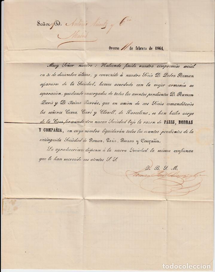 Sellos: CARTA ENTERA PARIS BORRAS Y CIA DE ORENSE (1864) -2 CIRCULARES-RUEDA DE CARRETA Y FECHADOR - Foto 3 - 194405905