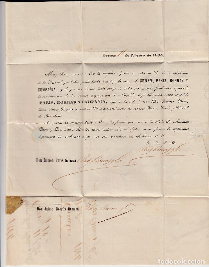 Sellos: CARTA ENTERA PARIS BORRAS Y CIA DE ORENSE (1864) -2 CIRCULARES-RUEDA DE CARRETA Y FECHADOR - Foto 4 - 194405905