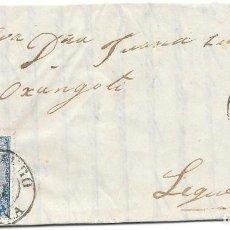 Sellos: DURANGO. VIZCAYA. CUATRO CUARTOS. EDIFIL 65. DE DURANGO A BILBAO. 1865. Lote 99243603