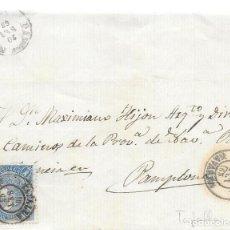 Sellos: TAFALLA. NAVARRA. CUATRO CUARTOS. EDIFIL 75. FRONTAL DE TAFALLA A PAMPLONA. 1865. Lote 99246607