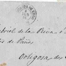 Sellos: MIRANDA DE EBRO. BURGOS. CUATRO CUARTOS. EDIFIL 64. DE BURGOS A ORTIGOSA. 1864. Lote 99247911