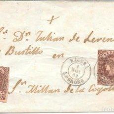 Sellos: NAGERA. LOGROÑO. CUATRO CUARTOS. EDIFIL 58. DE NAGERA A SAN MILLAN DE LA COGOLLA. 1863. Lote 99248499