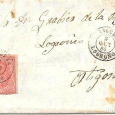 Sellos: NAGERA. LOGROÑO. CUATRO CUARTOS. EDIFIL 64. DE NAGERA A ORTIGOSA. 1864. Lote 99248587