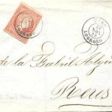Sellos: HARO. LOGROÑO. CUATRO CUARTOS. EDIFIL 48. DE HARO A REUS. 1859. Lote 99248667