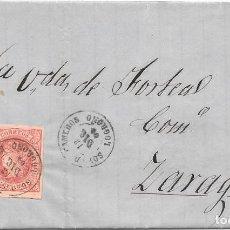 Sellos: SOTO DE CAMEROS. LOGROÑO. CUATRO CUARTOS. EDIFIL 64. DE NAGERA A ZARAGOZA. 1864. Lote 99248775