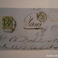 Sellos: EXCELENTE Y RARO FRONTAL DE CARTA - ISABEL II - 12 CUARTOS 1864 SEVILLA A FRANCIA. Lote 99696067