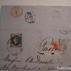 Sellos: EXCELENTE Y RARO FRONTAL DE CARTA - ISABEL II - 12 CUARTOS 1862 IRUN A FRANCIA. Lote 99696075