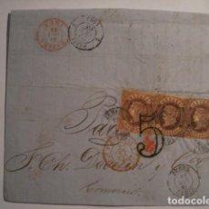 Sellos: EXCELENTE Y RARO FRONTAL DE CARTA - ISABEL II - 4 CUARTOS 1864 JEREZ A FRANCIA. Lote 99696083