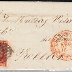 Sellos: CARTA COMPLETA CON SELLO NUM. 17 DE TARREGA A REUS 1853 CON BAEZA Y PARRILLA. Lote 99737043