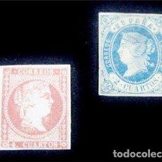 Sellos: ESPAÑA, ISABEL II. LOTE SELLOS 1855-1860. EDIFIL 48(*) Y EDIFIL 52(*) NUEVOS CON GOMA. Lote 99740732