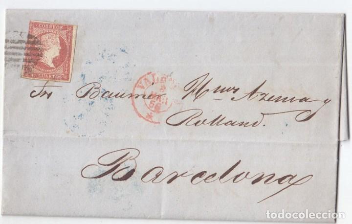 CARTA ENTERA DE VALENCIA A BARCELONA. 1856. PARRILLA Y FECHADOR ROJO. (Sellos - España - Isabel II de 1.850 a 1.869 - Cartas)