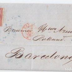 Sellos: CARTA ENTERA DE VALENCIA A BARCELONA. 1856. PARRILLA Y FECHADOR ROJO.. Lote 99853267