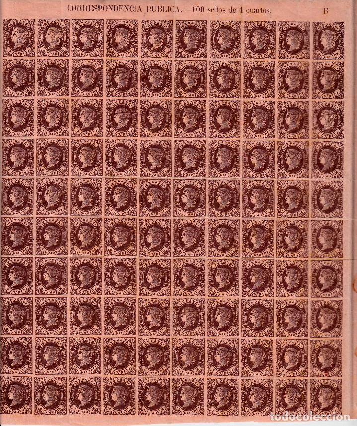 1862 HOJA ENTERA DE 100 SELLOS DEL 4 CUARTOS NUM. 58 (Sellos - España - Isabel II de 1.850 a 1.869 - Nuevos)
