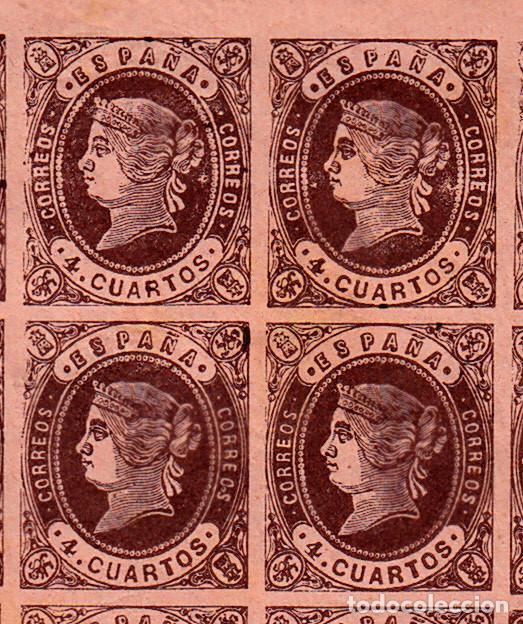 Sellos: 1862 HOJA ENTERA DE 100 SELLOS DEL 4 CUARTOS NUM. 58 - Foto 2 - 99877667