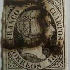 Sellos: SELLO 1 DE ENERO DE 1851. SEIS CUARTOS ISABEL II. NEGRO. SIN DENTAR. Lote 100044088