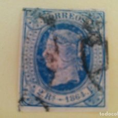 Sellos: SELLO SELLOS ESPAÑA 1864 ISABEL II EDIFIL 68, 2 REALES AZUL (º). Lote 100384167
