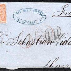 Sellos: ENVUELTA DE JOSE MARIA MARTINEZ EN SEVILLA (1866) A FRANCIA CON DOS SELLOS DEL NUM. 82. Lote 101132331