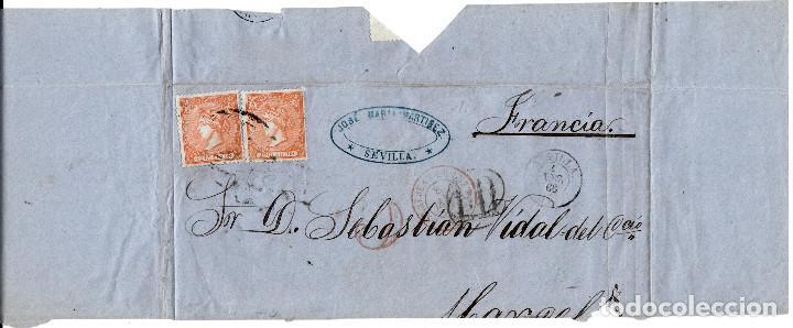 Sellos: ENVUELTA DE JOSE MARIA MARTINEZ EN SEVILLA (1866) A FRANCIA CON DOS SELLOS DEL NUM. 82 - Foto 2 - 101132331