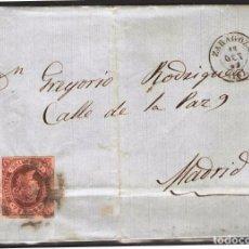 Sellos: ENVUELTA 1862 DE ZARAGOZA A MADRID FRANQUEO 4CU 1862. Lote 102103687