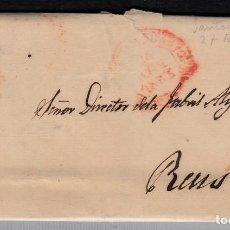 Sellos: CARTA ENTERA CON SELLO NUM. 17 DE SANTANDER A REUS --1853-- MATASELLOS DE PARRILLA. Lote 102452599