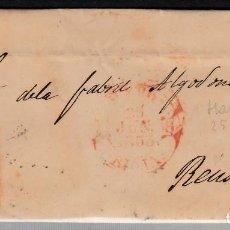 Sellos: CARTA ENTERA CON SELLO NUM 17 DE HARO (LOGROÑO) -1853-MATASELLOS DE PARRILLA NEGRO FECHADOR ROJO. Lote 102457115