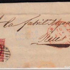 Sellos: CARTA ENTERA CON SELLO NUM 17 DE VITORIA -1853-MATASELLOS DE PARRILLA NEGRO FECHADOR ROJO. Lote 102460951