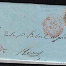 Sellos: CARTA ENTERA CON SELLO NUM 17 DE CIURO Y CLAVELL EN BARCELONA DESTINO REUS --1853---. Lote 102461467