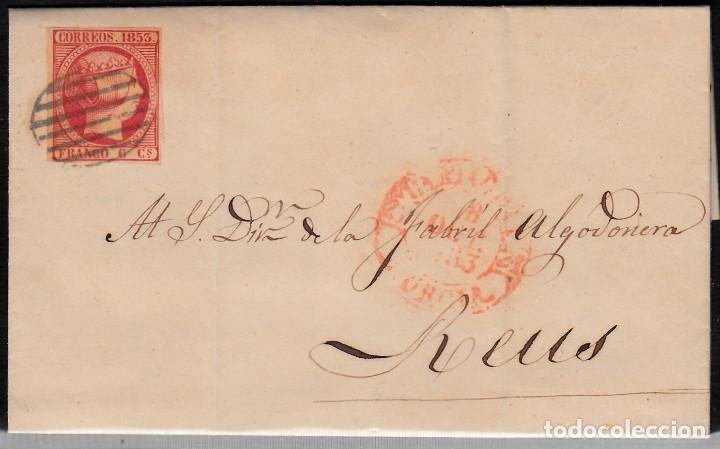 CARTA ENTERA CON SELLO NUM 17 DE CARTAGENA A REUS -1853 MATASELLOS PARRILLA Y BAEZA (Sellos - España - Isabel II de 1.850 a 1.869 - Cartas)