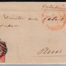 Sellos: CARTA ENTERA CON SELLO NUM 17 DE BILBAO A REUS -1853 MATASELLOS PARRILLA Y BAEZA. Lote 102607667