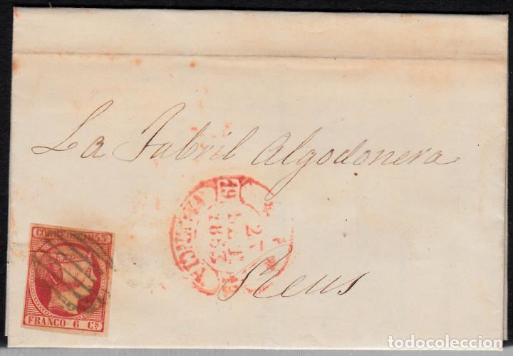 CARTA ENTERA CON SELLO NUM 17 DE JORGE MIRALLES EN VALENCIA -1853 MATASELLOS PARRILLA Y BAEZA (Sellos - España - Isabel II de 1.850 a 1.869 - Cartas)