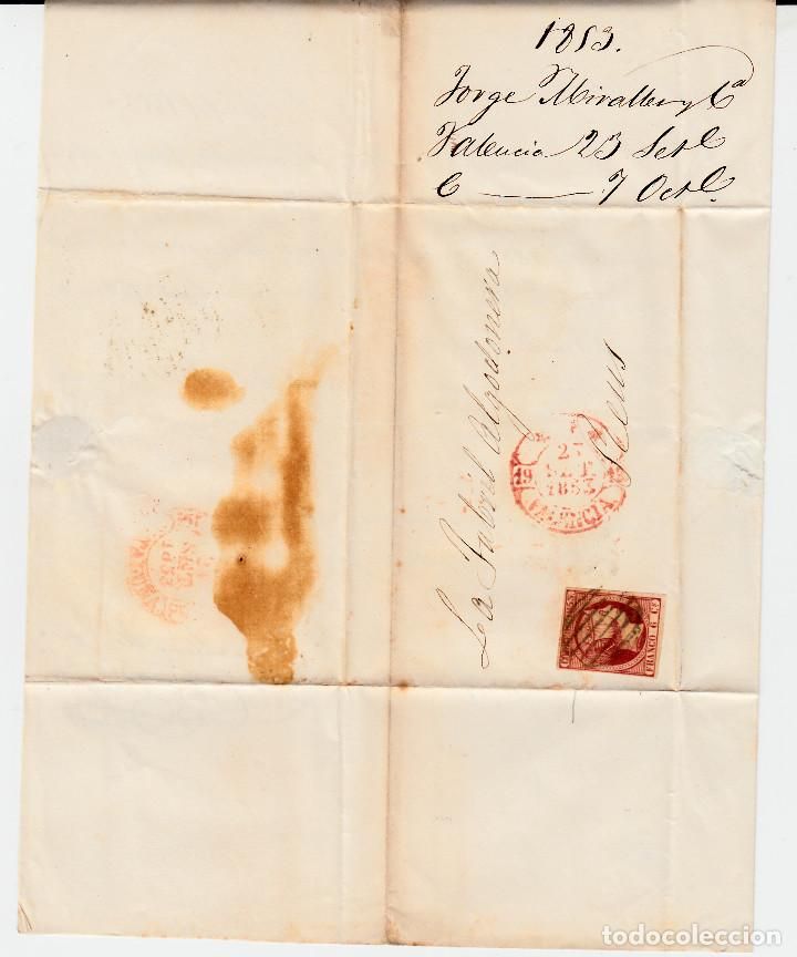 Sellos: CARTA ENTERA CON SELLO NUM 17 DE JORGE MIRALLES EN VALENCIA -1853 MATASELLOS PARRILLA Y BAEZA - Foto 2 - 102609579