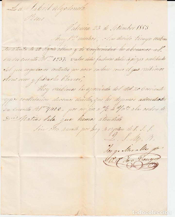 Sellos: CARTA ENTERA CON SELLO NUM 17 DE JORGE MIRALLES EN VALENCIA -1853 MATASELLOS PARRILLA Y BAEZA - Foto 3 - 102609579
