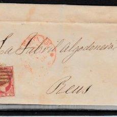 Sellos: CARTA ENTERA CON SELLO NUM 17 DE MIRALLES EN VALENCIA A REUS -1853 MATASELLOS PARRILLA Y BAEZA. Lote 102614971