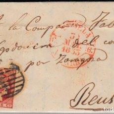 Sellos: CARTA ENTERA CON SELLO NUM 17 DE JUAN FELIPE EN TUDELA -1853 MATASELLOS PARRILLA Y BAEZA. Lote 102615375