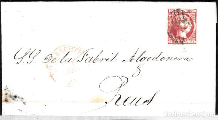 CARTA ENTERA CON SELLO NUM 17 DE ALBACETE A REUS -1853 MATASELLOS PARRILLA Y BAEZA (Sellos - España - Isabel II de 1.850 a 1.869 - Cartas)