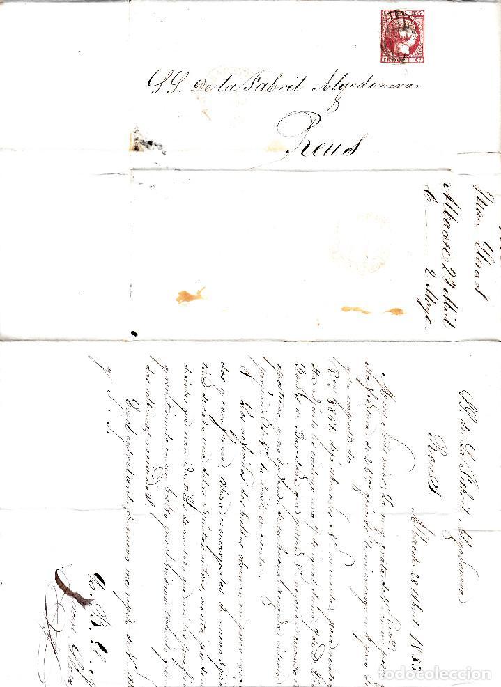 Sellos: CARTA ENTERA CON SELLO NUM 17 DE ALBACETE A REUS -1853 MATASELLOS PARRILLA Y BAEZA - Foto 2 - 102616335