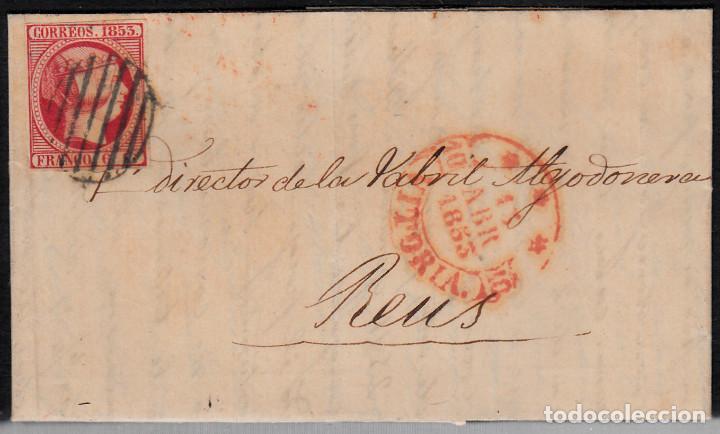 CARTA ENTERA CON SELLO NUM 17 DE SEBASTIAN HERRERO EN VITORIA -1853 MATASELLOS PARRILLA Y BAEZA (Sellos - España - Isabel II de 1.850 a 1.869 - Cartas)