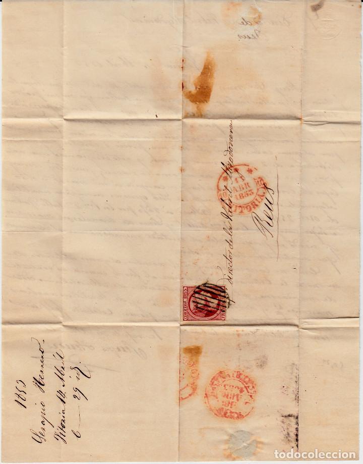 Sellos: CARTA ENTERA CON SELLO NUM 17 DE SEBASTIAN HERRERO EN VITORIA -1853 MATASELLOS PARRILLA Y BAEZA - Foto 2 - 102687715