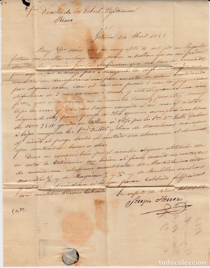 Sellos: CARTA ENTERA CON SELLO NUM 17 DE SEBASTIAN HERRERO EN VITORIA -1853 MATASELLOS PARRILLA Y BAEZA - Foto 3 - 102687715