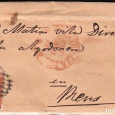Sellos: CARTA COMPLETA CON SELLO NUM. 12 DE VITORIA A REUS -1852- MATASELLOS PARRILLA NEGRO Y FECHADOR. Lote 102690951