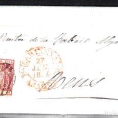Sellos: CARTA ENTERA CON SELLO NUM 24 DE TORIBIO PASCUAL EN CARIÑENA -ZARAGOZA- --1854-- A REUS. Lote 102795803
