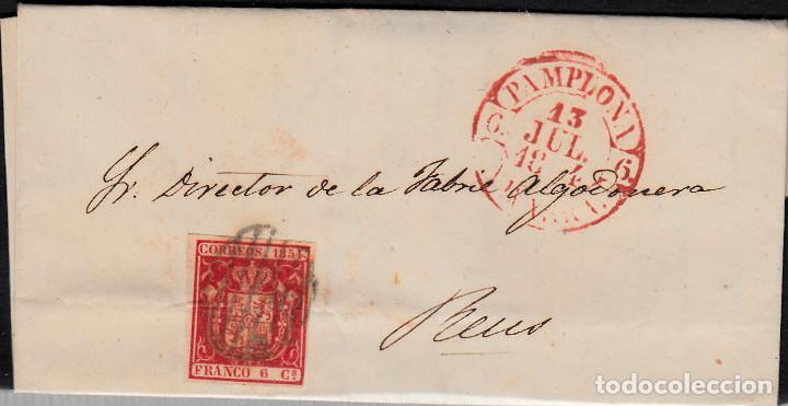 CARTA ENTERA CON SELLO NUM 24 DE PAMPLONA A REUS 1854 MATASELLOS PARRILLA Y BAEZA (Sellos - España - Isabel II de 1.850 a 1.869 - Cartas)