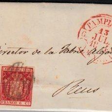 Sellos: CARTA ENTERA CON SELLO NUM 24 DE PAMPLONA A REUS 1854 MATASELLOS PARRILLA Y BAEZA. Lote 102804911