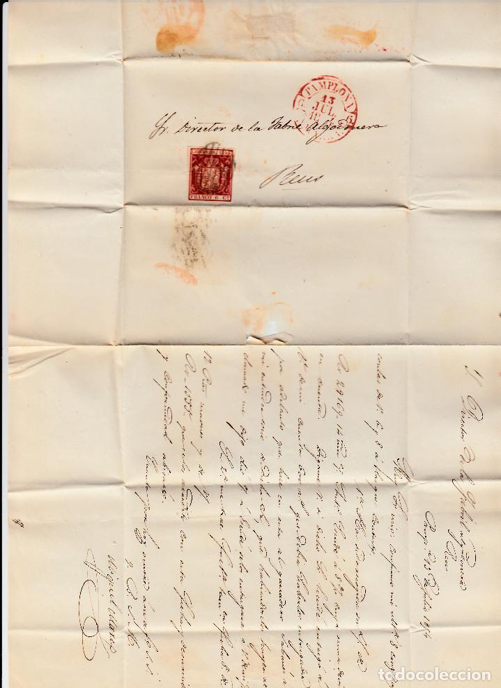 Sellos: CARTA ENTERA CON SELLO NUM 24 DE PAMPLONA A REUS 1854 MATASELLOS PARRILLA Y BAEZA - Foto 2 - 102804911