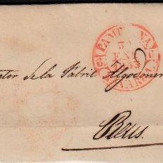 Sellos: CARTA ENTERA CON SELLO NUM 17 DE MIGUEL MARCO EN PAMPLONA -1853 MATASELLOS PARRILLA Y BAEZA. Lote 102805731