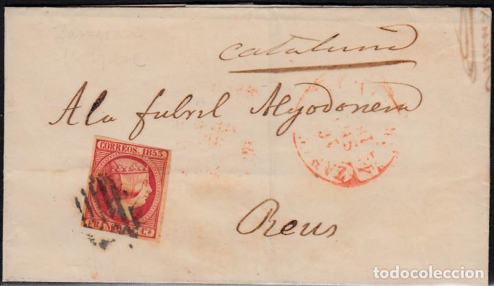 CARTA ENTERA CON SELLO NUM 17 DE JUAN ALMOR EN ZARAGOZA -1853 MATASELLOS PARRILLA Y BAEZA (Sellos - España - Isabel II de 1.850 a 1.869 - Cartas)