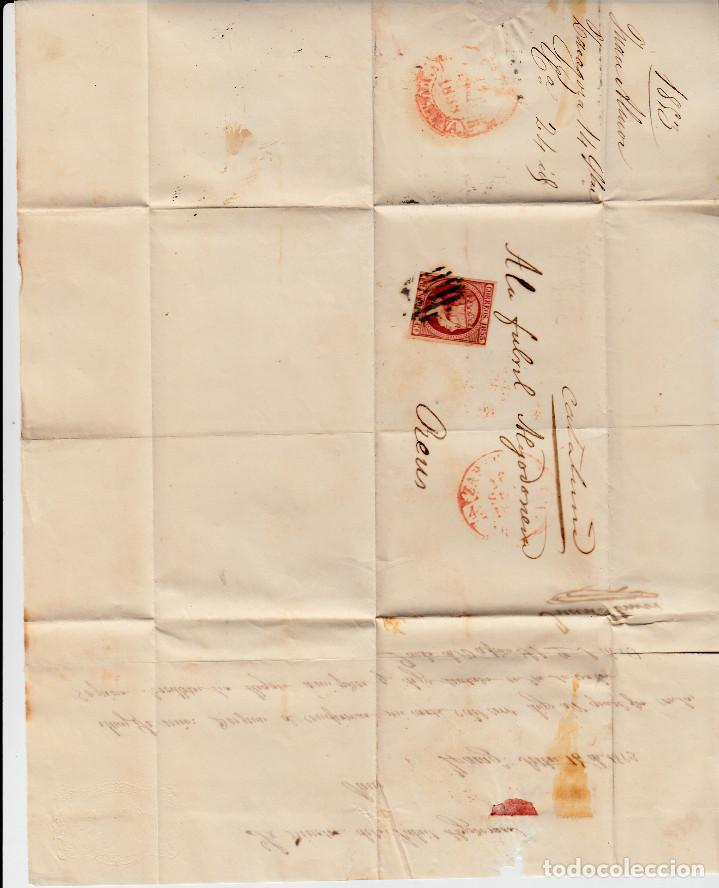 Sellos: CARTA ENTERA CON SELLO NUM 17 DE JUAN ALMOR EN ZARAGOZA -1853 MATASELLOS PARRILLA Y BAEZA - Foto 2 - 110427107