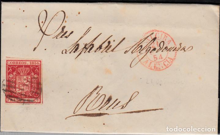 CARTA ENTERA CON SELLO NUM 24 DE ALCIRA (VALENCIA) A REUS CON FECHADOR ROJO PEQUEÑO (Sellos - España - Isabel II de 1.850 a 1.869 - Cartas)